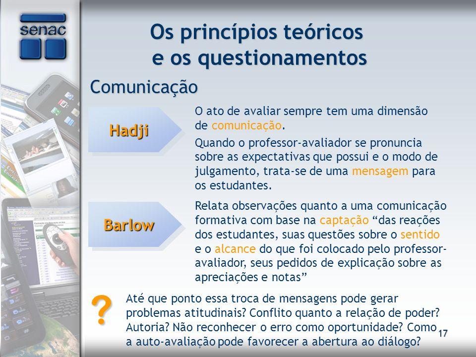 17 Os princípios teóricos e os questionamentos Comunicação HadjiHadji O ato de avaliar sempre tem uma dimensão de comunicação. Quando o professor-aval