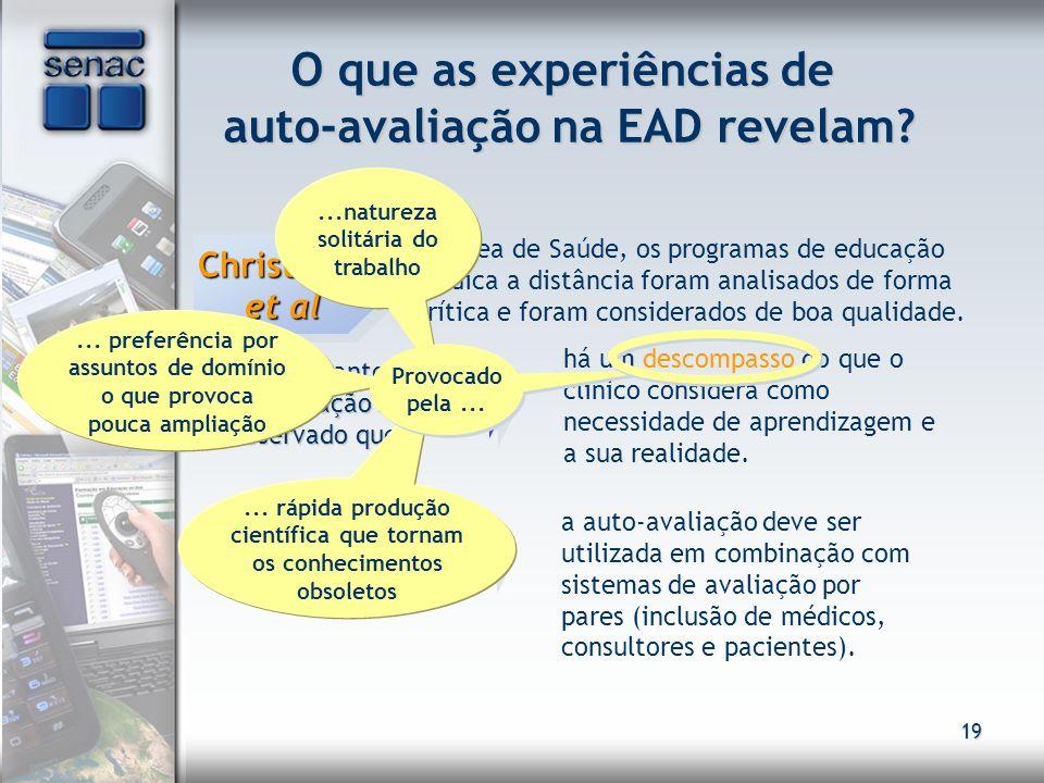 19 O que as experiências de auto-avaliação na EAD revelam? Christante et al Na área de Saúde, os programas de educação médica a distância foram analis