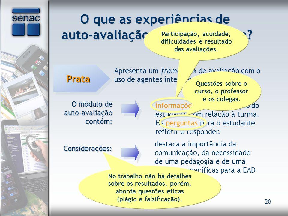 20 O que as experiências de auto-avaliação na EAD revelam? PrataPrata Apresenta um framework de avaliação com o uso de agentes inteligentes O módulo d