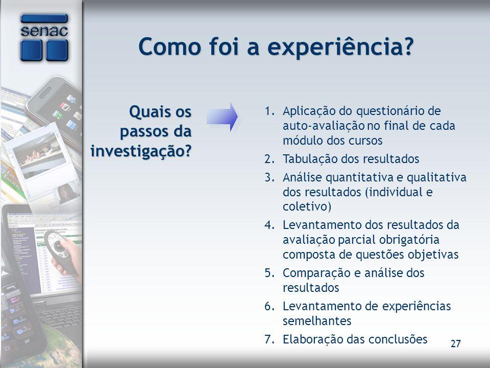 27 Como foi a experiência? Quais os passos da investigação? Quais os passos da investigação? 1.Aplicação do questionário de auto-avaliação no final de