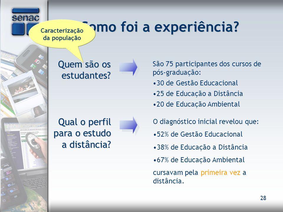 28 Como foi a experiência? Quem são os estudantes? Quem são os estudantes? São 75 participantes dos cursos de pós-graduação: 30 de Gestão Educacional
