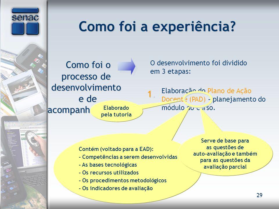 29 Como foi a experiência? Como foi o processo de desenvolvimento e de acompanhamento? Como foi o processo de desenvolvimento e de acompanhamento? O d