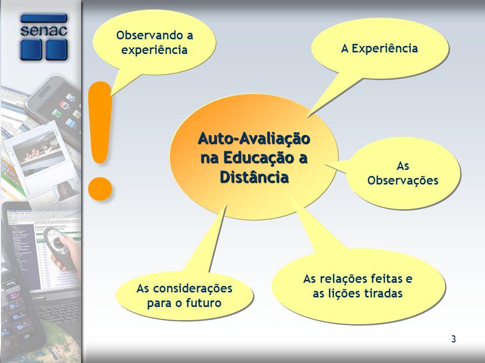 3 ! Auto-Avaliação na Educação a Distância Observando a experiência A Experiência As Observações As relações feitas e as lições tiradas As consideraçõ