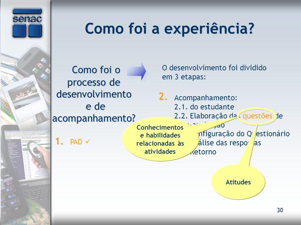 30 Como foi a experiência? Como foi o processo de desenvolvimento e de acompanhamento? Como foi o processo de desenvolvimento e de acompanhamento? O d