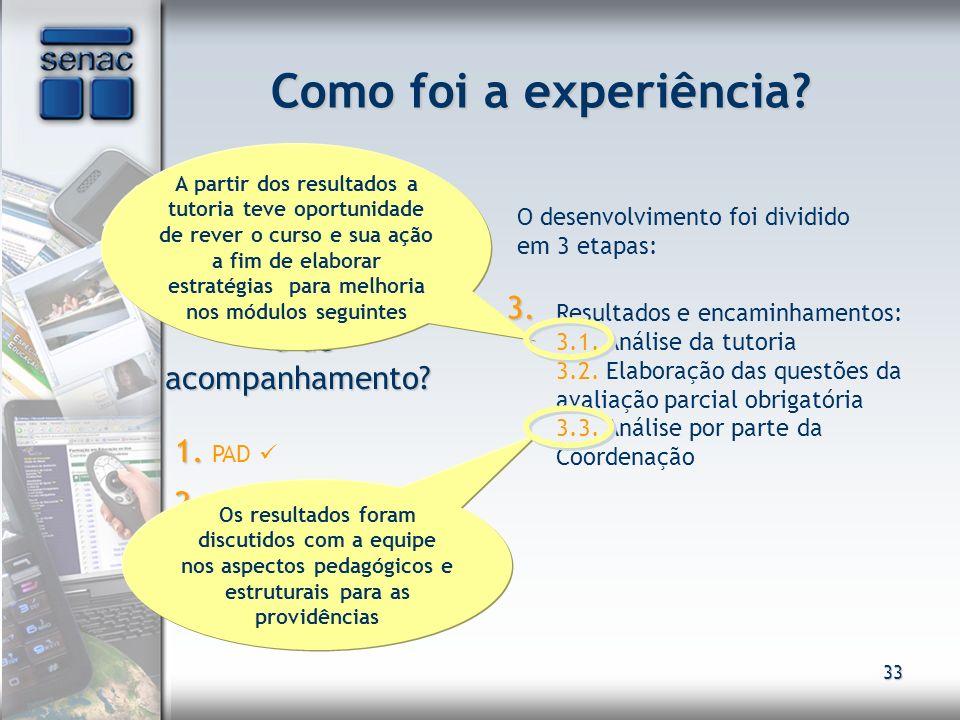 33 Como foi a experiência? Como foi o processo de desenvolvimento e de acompanhamento? Como foi o processo de desenvolvimento e de acompanhamento? O d