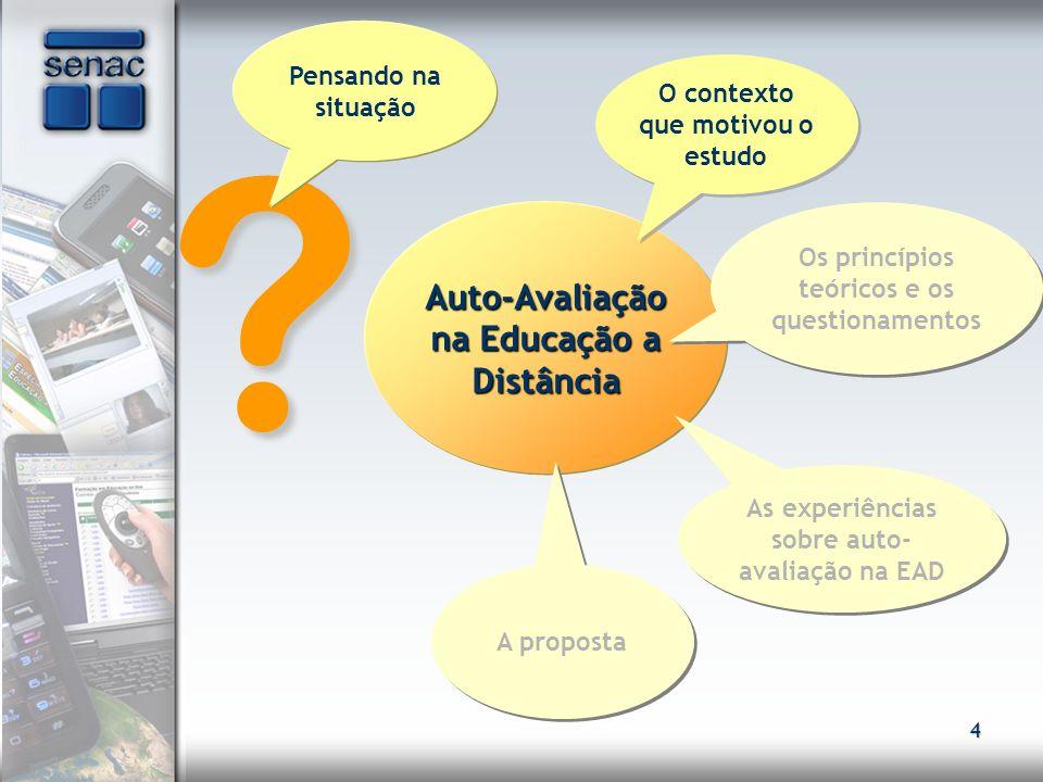 45 .Auto-Avaliação na Educação a Distância Observando a experiência Como foi a experiência.