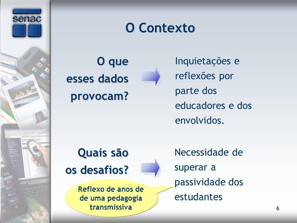 6 O Contexto O que esses dados provocam? O que esses dados provocam? Inquietações e reflexões por parte dos educadores e dos envolvidos. Quais são os