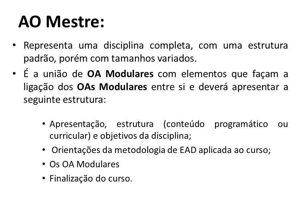 A) Padrões/metodologias – Para que OAs tenham uma boa reusabilidade, consideramos, como requisito, a adoção de padrões amplamente utilizados, interpretados por diversos LMSs.