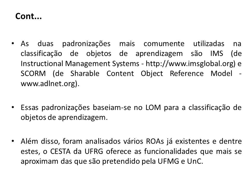 Cont... As duas padronizações mais comumente utilizadas na classificação de objetos de aprendizagem são IMS (de Instructional Management Systems - htt