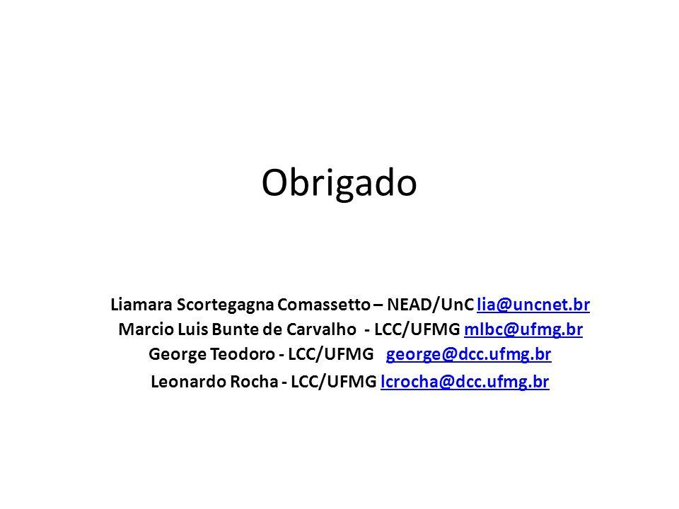 Obrigado Liamara Scortegagna Comassetto – NEAD/UnC lia@uncnet.brlia@uncnet.br Marcio Luis Bunte de Carvalho - LCC/UFMG mlbc@ufmg.brmlbc@ufmg.br George