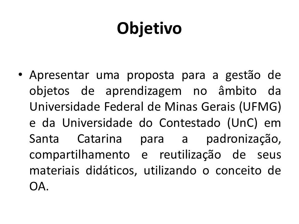 Objetivo Apresentar uma proposta para a gestão de objetos de aprendizagem no âmbito da Universidade Federal de Minas Gerais (UFMG) e da Universidade d