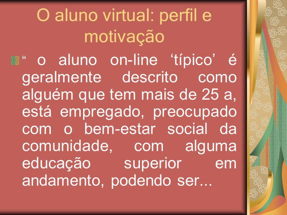 O aluno virtual: perfil e motivação o aluno on-line típico é geralmente descrito como alguém que tem mais de 25 a, está empregado, preocupado com o be