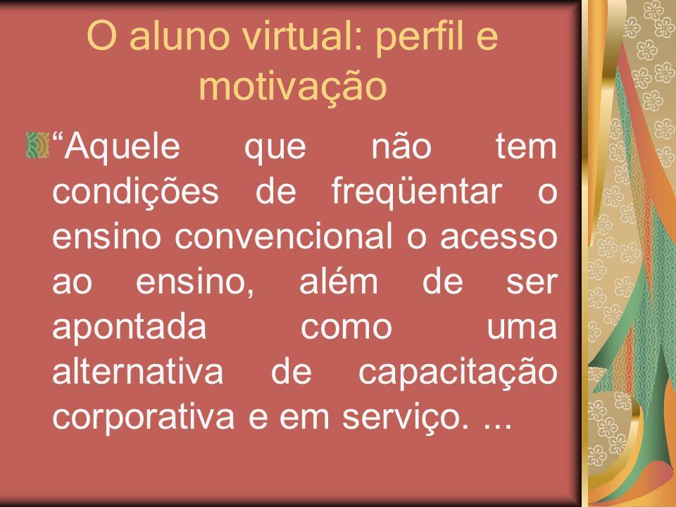 O aluno virtual: perfil e motivação Aquele que não tem condições de freqüentar o ensino convencional o acesso ao ensino, além de ser apontada como uma