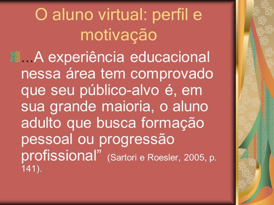 O aluno virtual: perfil e motivação...A experiência educacional nessa área tem comprovado que seu público-alvo é, em sua grande maioria, o aluno adult