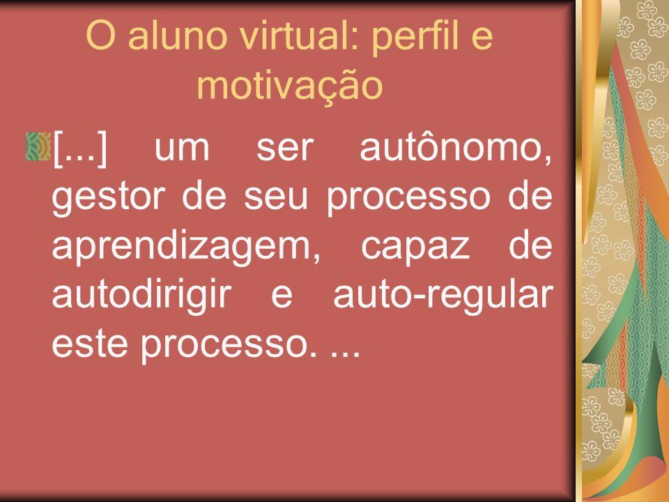 O aluno virtual: perfil e motivação [...] um ser autônomo, gestor de seu processo de aprendizagem, capaz de autodirigir e auto-regular este processo..
