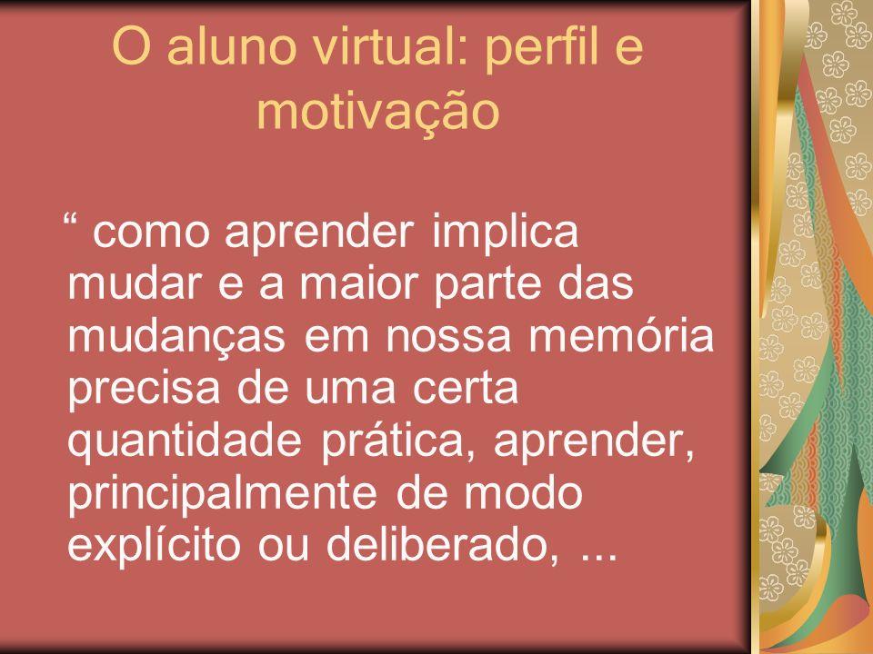 O aluno virtual: perfil e motivação como aprender implica mudar e a maior parte das mudanças em nossa memória precisa de uma certa quantidade prática,
