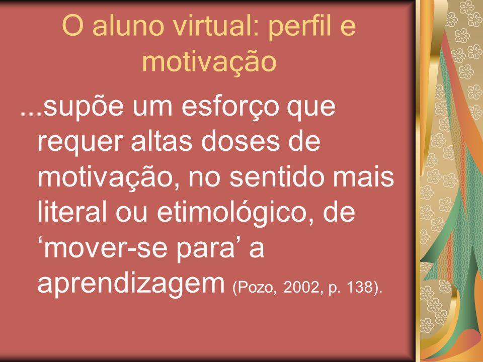O aluno virtual: perfil e motivação...supõe um esforço que requer altas doses de motivação, no sentido mais literal ou etimológico, de mover-se para a