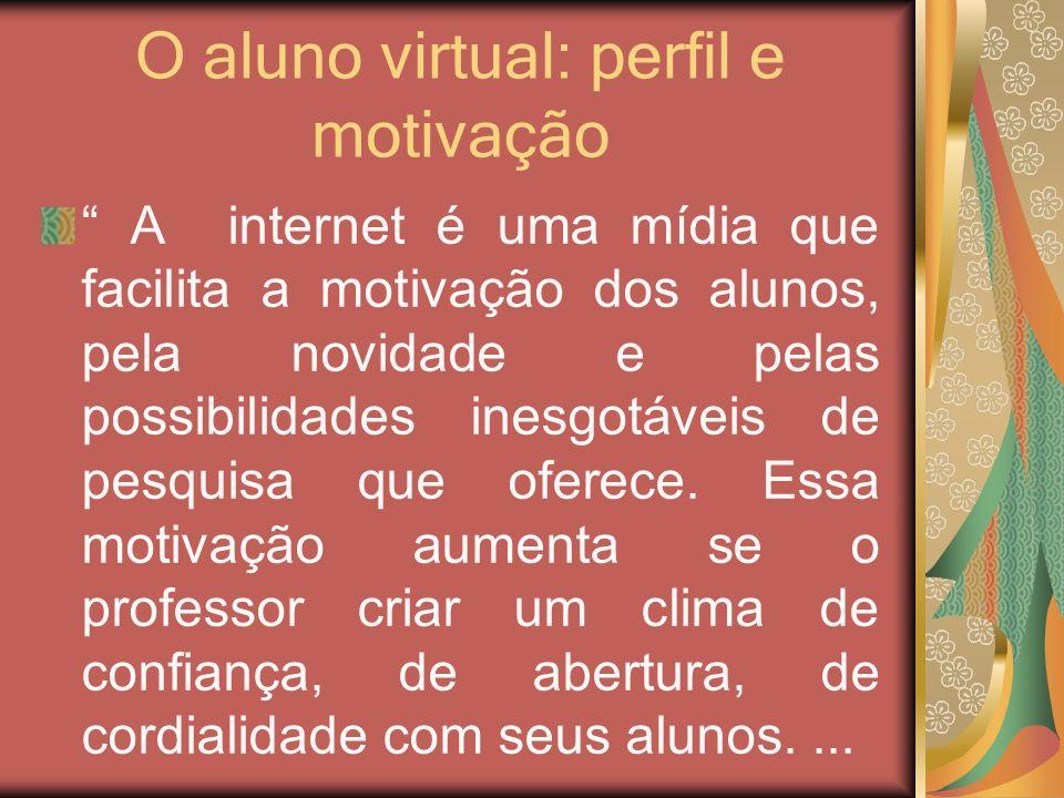 O aluno virtual: perfil e motivação A internet é uma mídia que facilita a motivação dos alunos, pela novidade e pelas possibilidades inesgotáveis de p