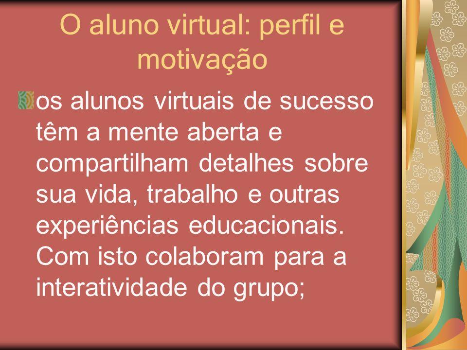 O aluno virtual: perfil e motivação os alunos virtuais de sucesso têm a mente aberta e compartilham detalhes sobre sua vida, trabalho e outras experiê