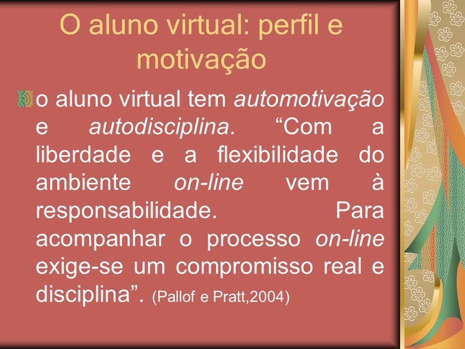 O aluno virtual: perfil e motivação o aluno virtual tem automotivação e autodisciplina. Com a liberdade e a flexibilidade do ambiente on-line vem à re