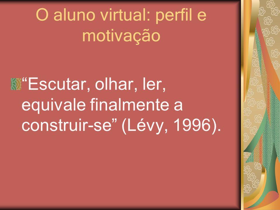 O aluno virtual: perfil e motivação Escutar, olhar, ler, equivale finalmente a construir-se (Lévy, 1996).