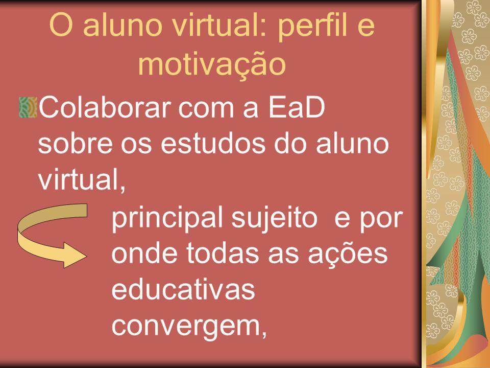 O aluno virtual: perfil e motivação Colaborar com a EaD sobre os estudos do aluno virtual, principal sujeito e por onde todas as ações educativas conv