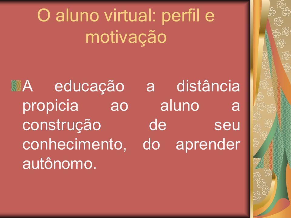 O aluno virtual: perfil e motivação A educação a distância propicia ao aluno a construção de seu conhecimento, do aprender autônomo.