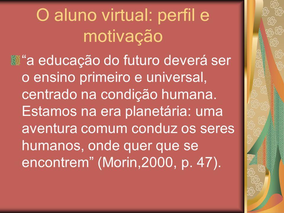 O aluno virtual: perfil e motivação a educação do futuro deverá ser o ensino primeiro e universal, centrado na condição humana. Estamos na era planetá