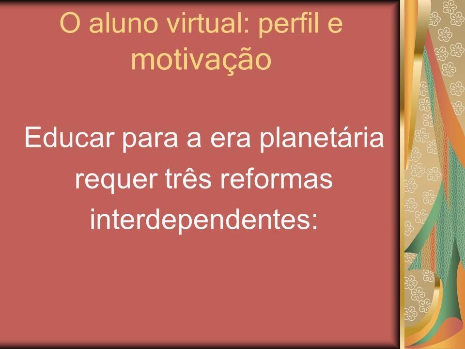 O aluno virtual: perfil e motivação Educar para a era planetária requer três reformas interdependentes: