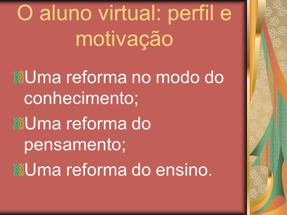 O aluno virtual: perfil e motivação Uma reforma no modo do conhecimento; Uma reforma do pensamento; Uma reforma do ensino.