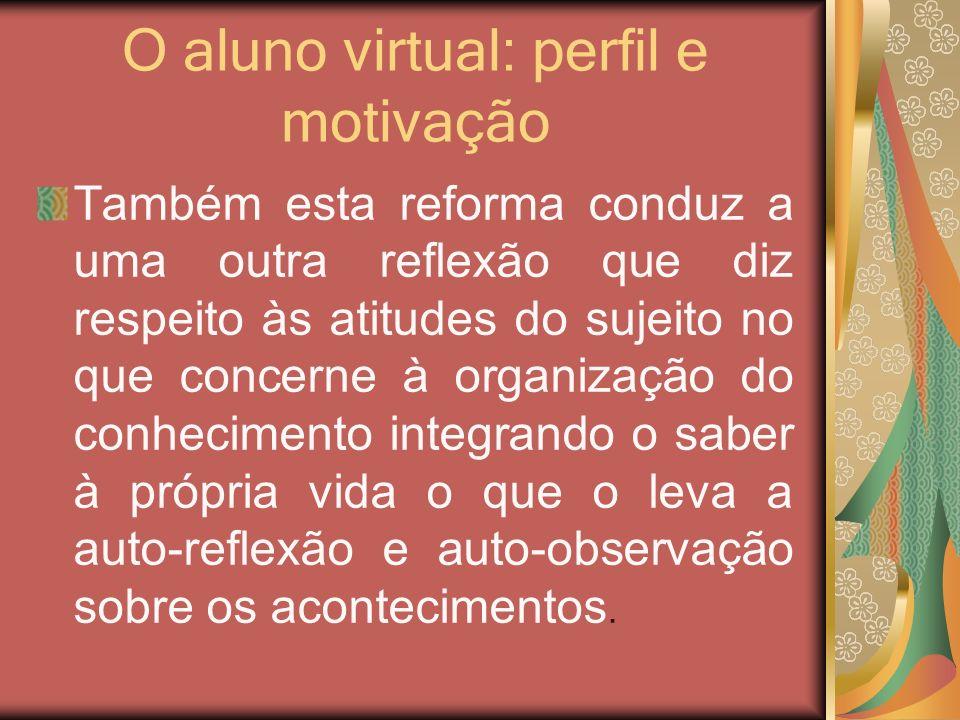 O aluno virtual: perfil e motivação Também esta reforma conduz a uma outra reflexão que diz respeito às atitudes do sujeito no que concerne à organiza