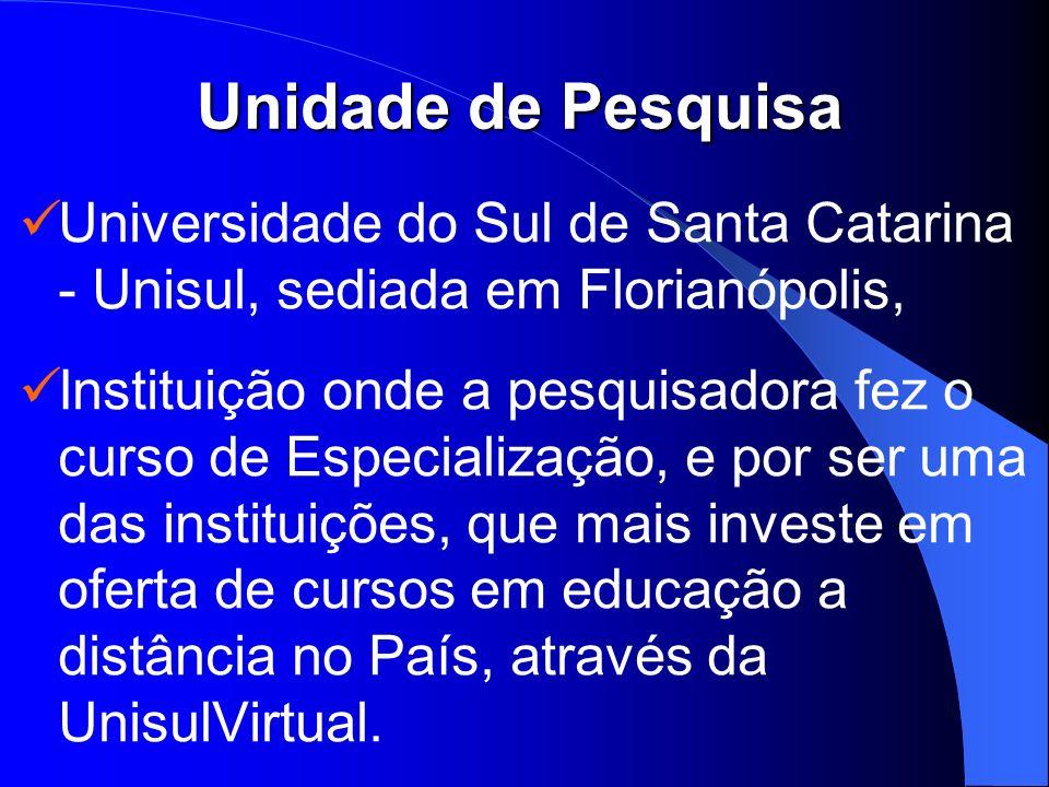 Unidade de Pesquisa Universidade do Sul de Santa Catarina - Unisul, sediada em Florianópolis, Instituição onde a pesquisadora fez o curso de Especiali