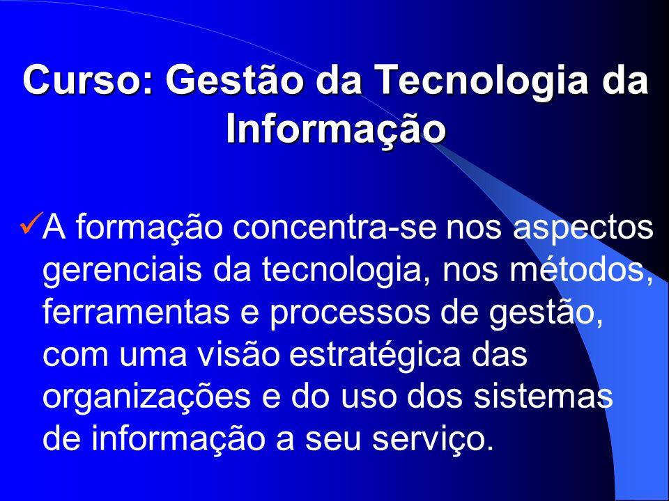Curso: Gestão da Tecnologia da Informação A formação concentra-se nos aspectos gerenciais da tecnologia, nos métodos, ferramentas e processos de gestã