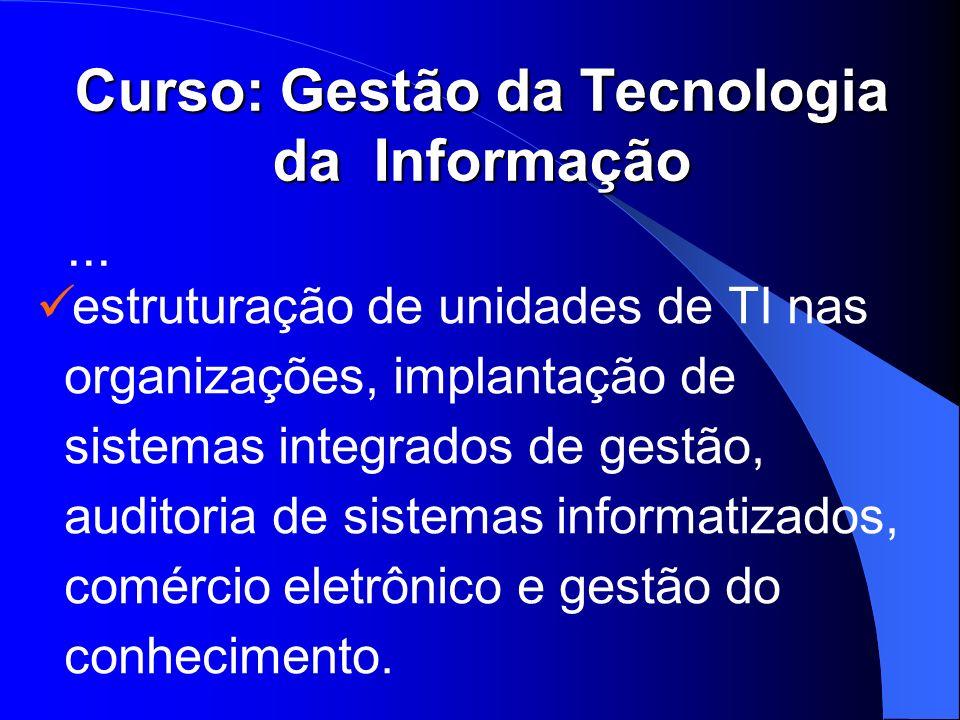 Curso: Gestão da Tecnologia da Informação estruturação de unidades de TI nas organizações, implantação de sistemas integrados de gestão, auditoria de