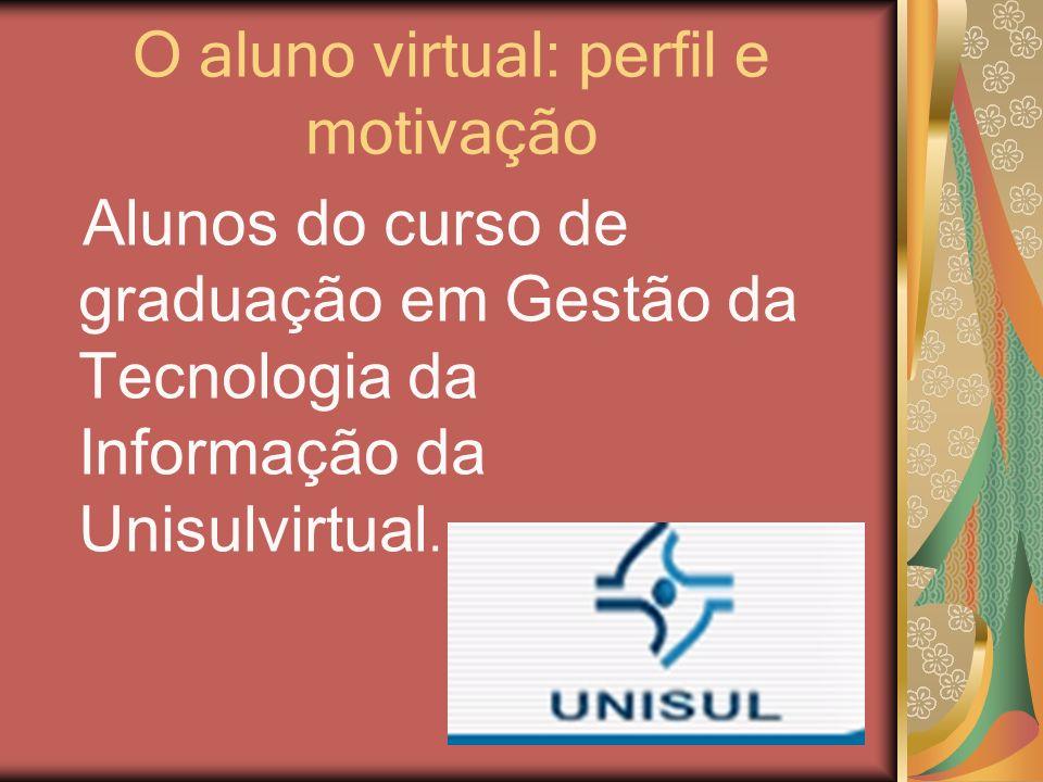 O aluno virtual: perfil e motivação Alunos do curso de graduação em Gestão da Tecnologia da Informação da Unisulvirtual.