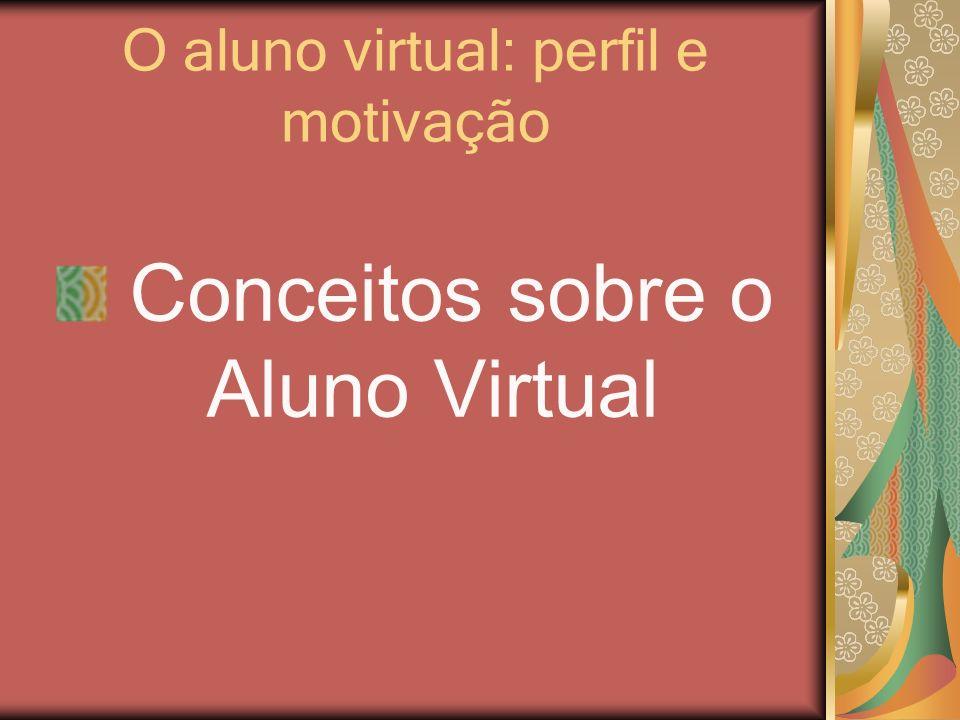 O aluno virtual: perfil e motivação O aluno passa a ser o principal sujeito de sua própria aprendizagem.