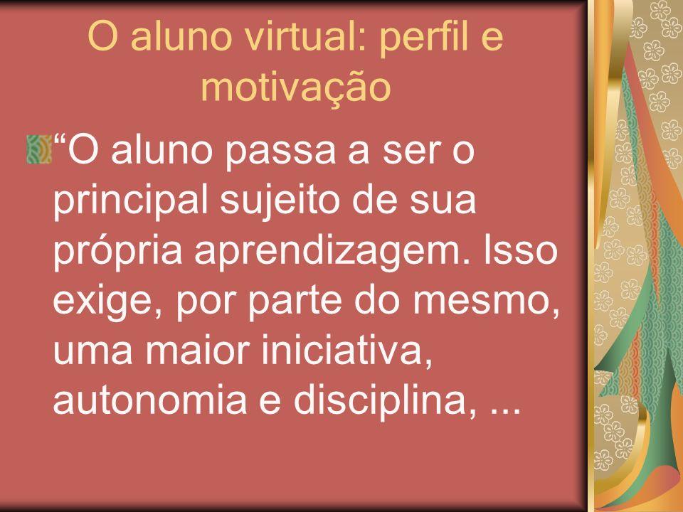 O aluno virtual: perfil e motivação O aluno passa a ser o principal sujeito de sua própria aprendizagem. Isso exige, por parte do mesmo, uma maior ini