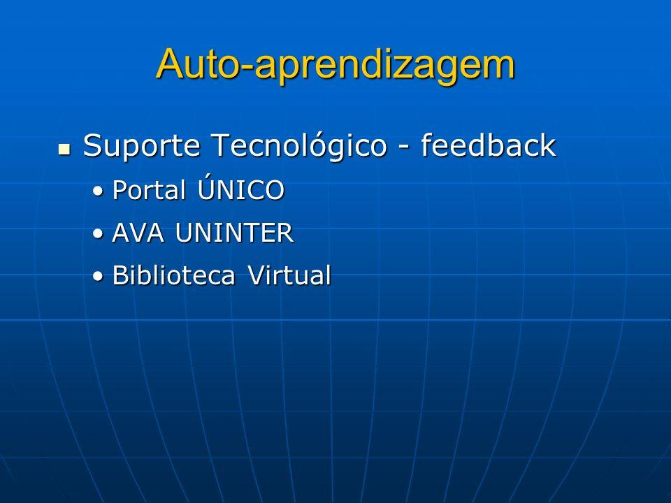 Auto-aprendizagem Suporte Tecnológico - feedback Suporte Tecnológico - feedback Portal ÚNICOPortal ÚNICO AVA UNINTERAVA UNINTER Biblioteca VirtualBibl
