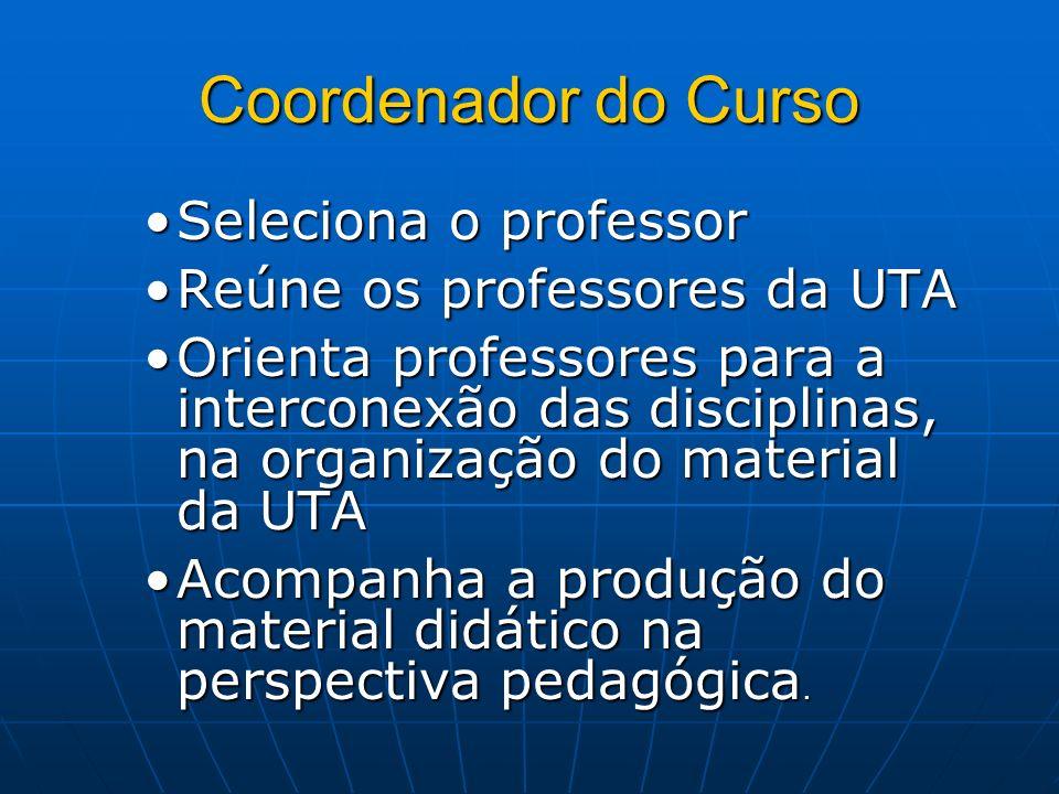 Coordenador do Curso Seleciona o professorSeleciona o professor Reúne os professores da UTAReúne os professores da UTA Orienta professores para a inte