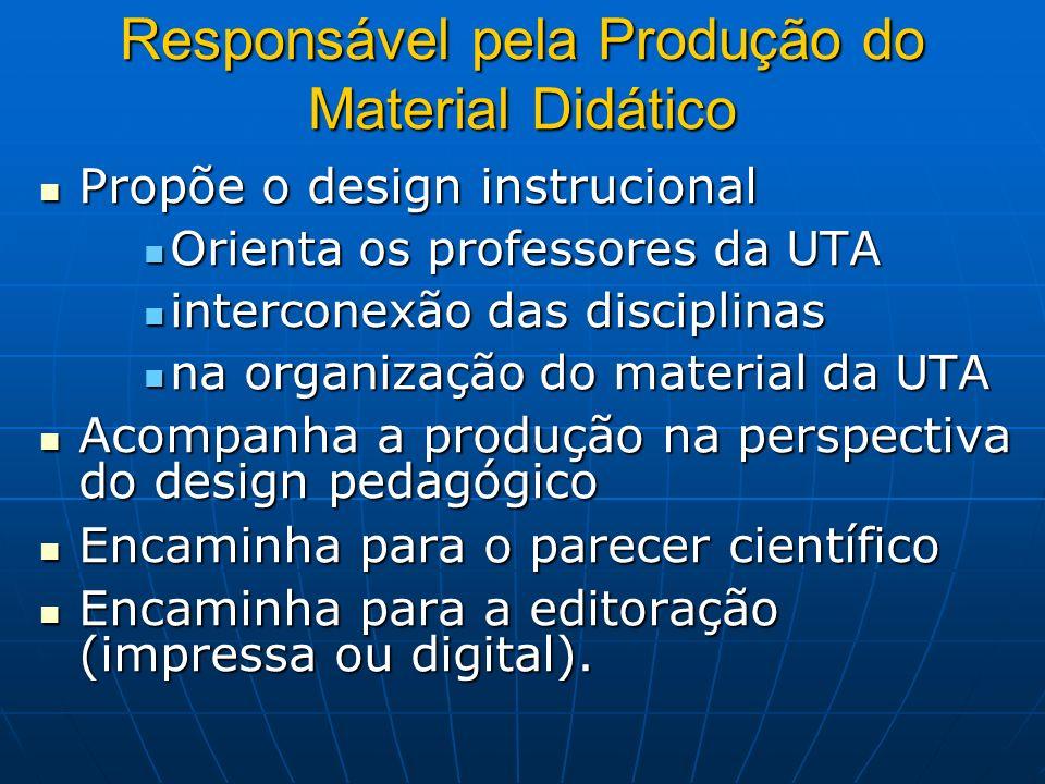 Responsável pela Produção do Material Didático Propõe o design instrucional Propõe o design instrucional Orienta os professores da UTA Orienta os prof