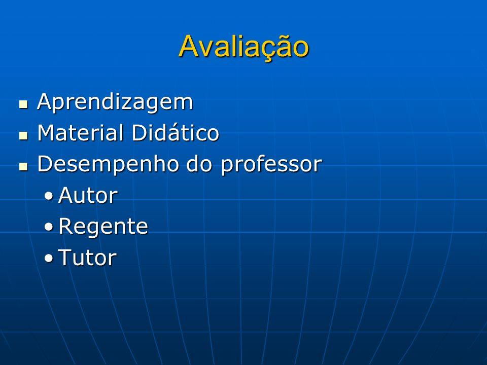 Avaliação Aprendizagem Aprendizagem Material Didático Material Didático Desempenho do professor Desempenho do professor AutorAutor RegenteRegente Tuto