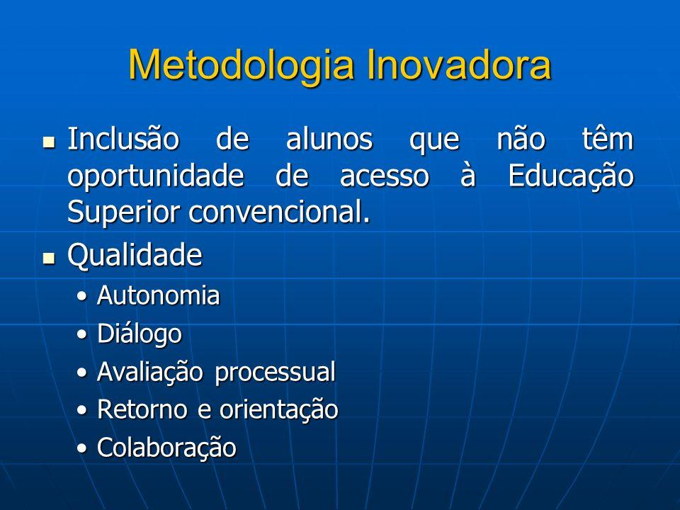 Metodologia Inovadora Inclusão de alunos que não têm oportunidade de acesso à Educação Superior convencional. Inclusão de alunos que não têm oportunid