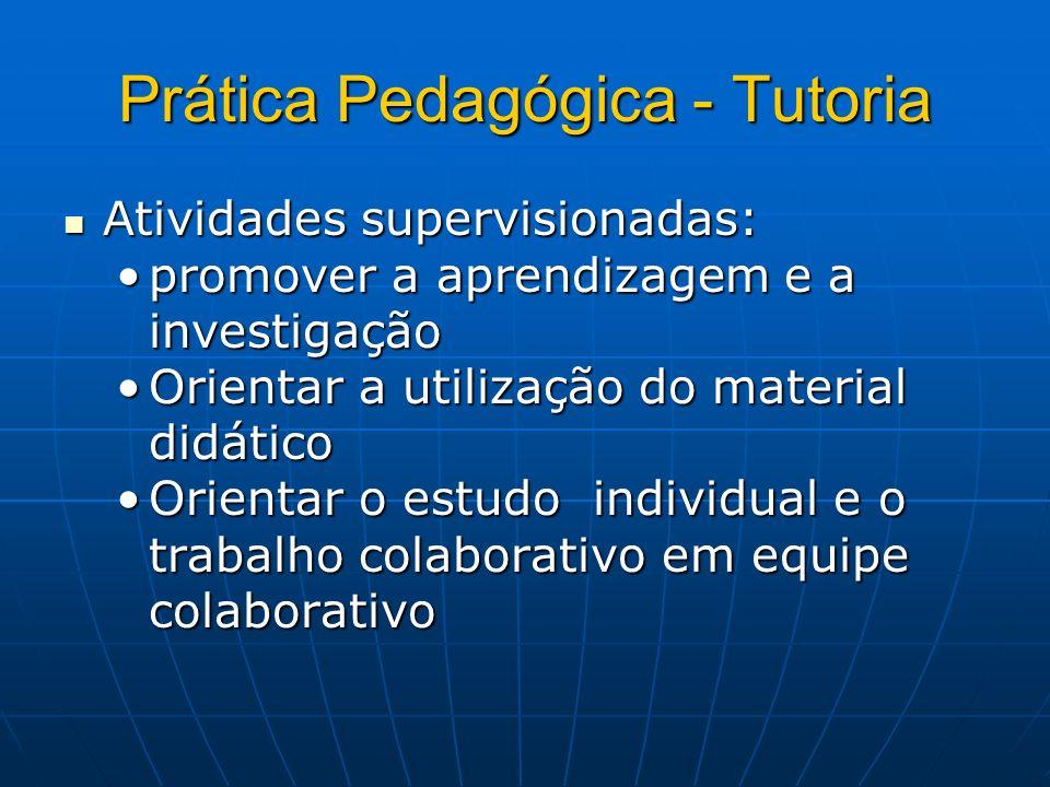 Prática Pedagógica - Tutoria Atividades supervisionadas: Atividades supervisionadas: promover a aprendizagem e a investigaçãopromover a aprendizagem e