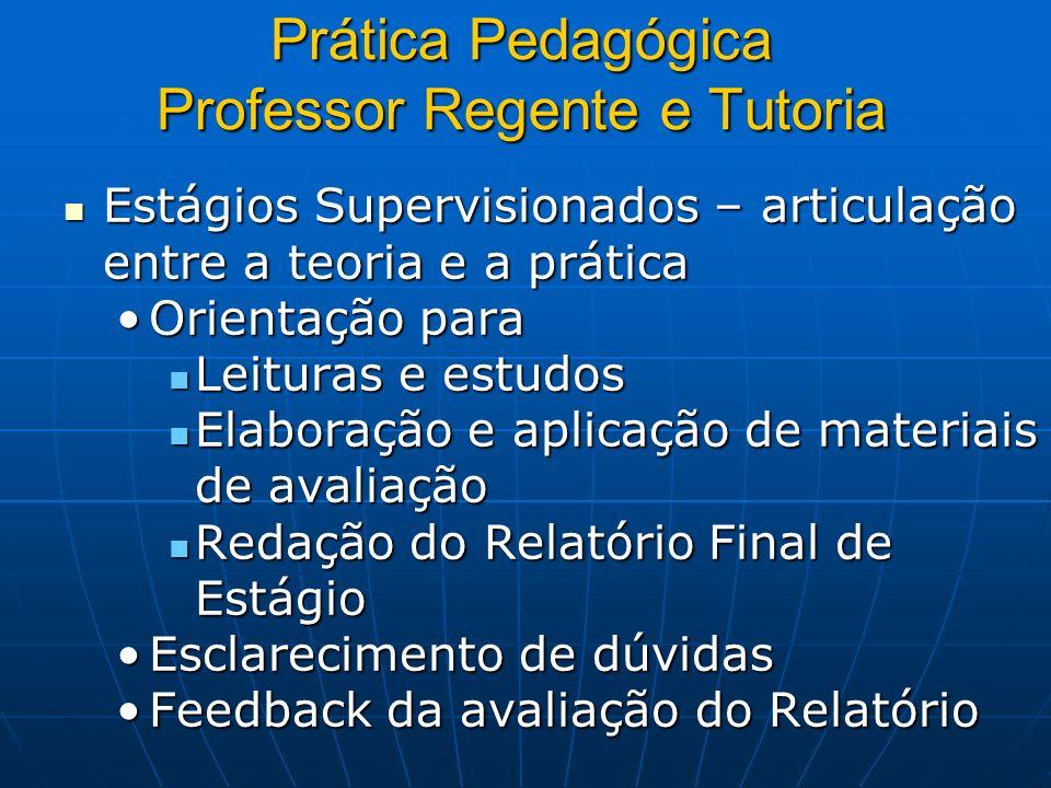 Prática Pedagógica Professor Regente e Tutoria Estágios Supervisionados – articulação entre a teoria e a prática Estágios Supervisionados – articulaçã