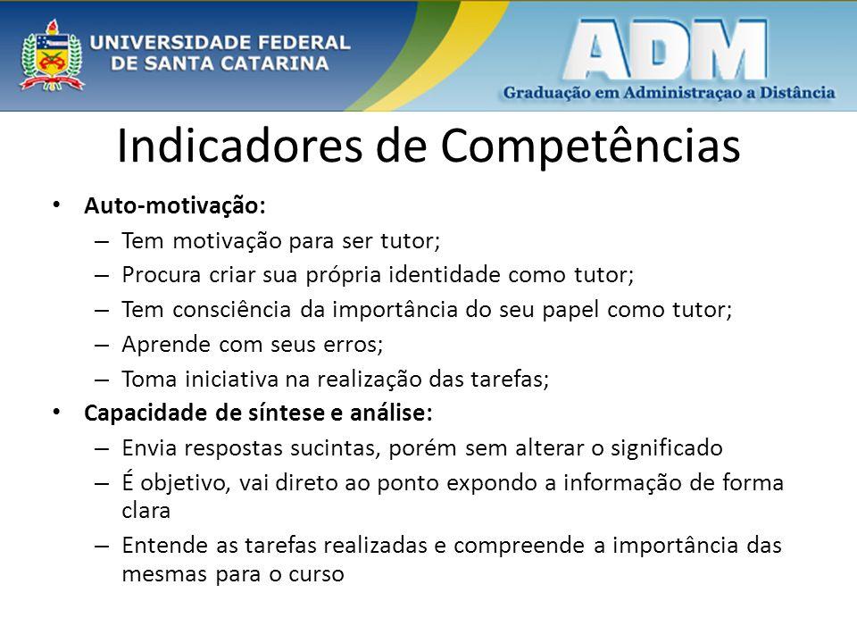 Indicadores de Competências Auto-motivação: – Tem motivação para ser tutor; – Procura criar sua própria identidade como tutor; – Tem consciência da im