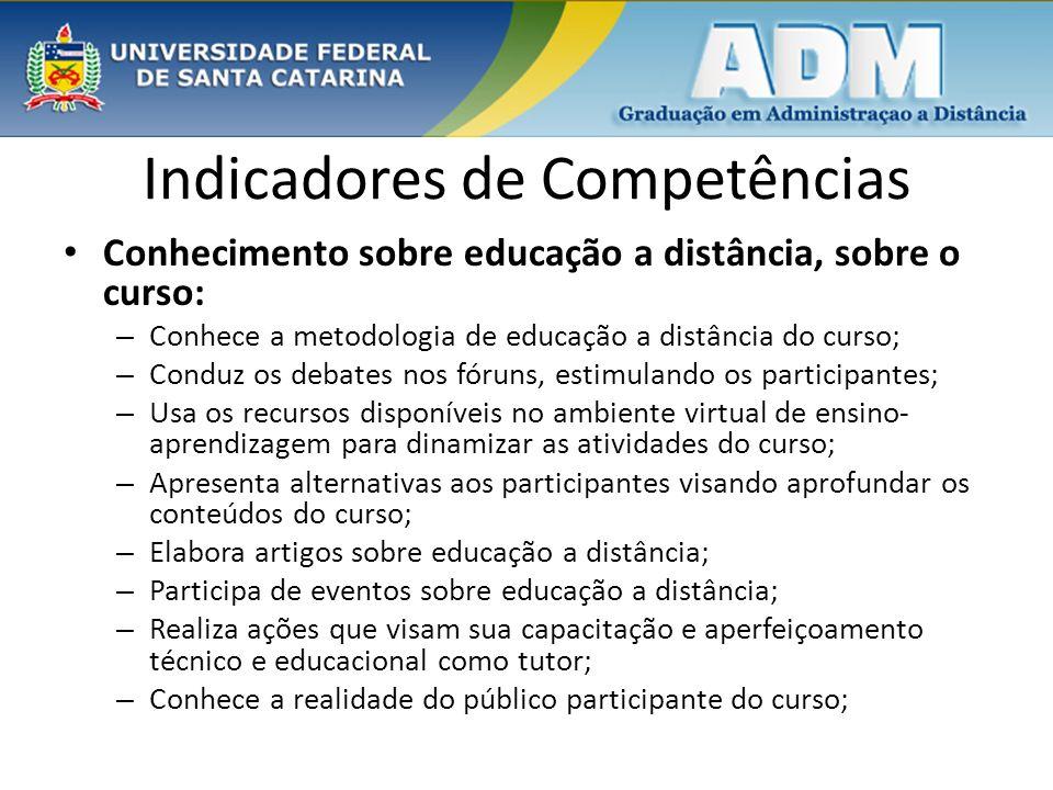 Indicadores de Competências Conhecimento sobre educação a distância, sobre o curso: – Conhece a metodologia de educação a distância do curso; – Conduz