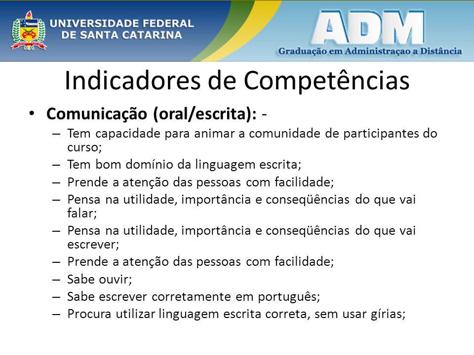 Indicadores de Competências Comunicação (oral/escrita): - – Tem capacidade para animar a comunidade de participantes do curso; – Tem bom domínio da li