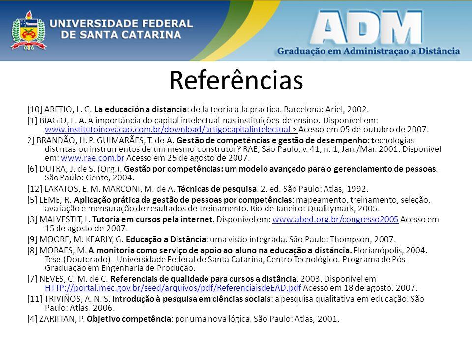Referências [10] ARETIO, L. G. La educación a distancia: de la teoría a la práctica. Barcelona: Ariel, 2002. [1] BIAGIO, L. A. A importância do capita