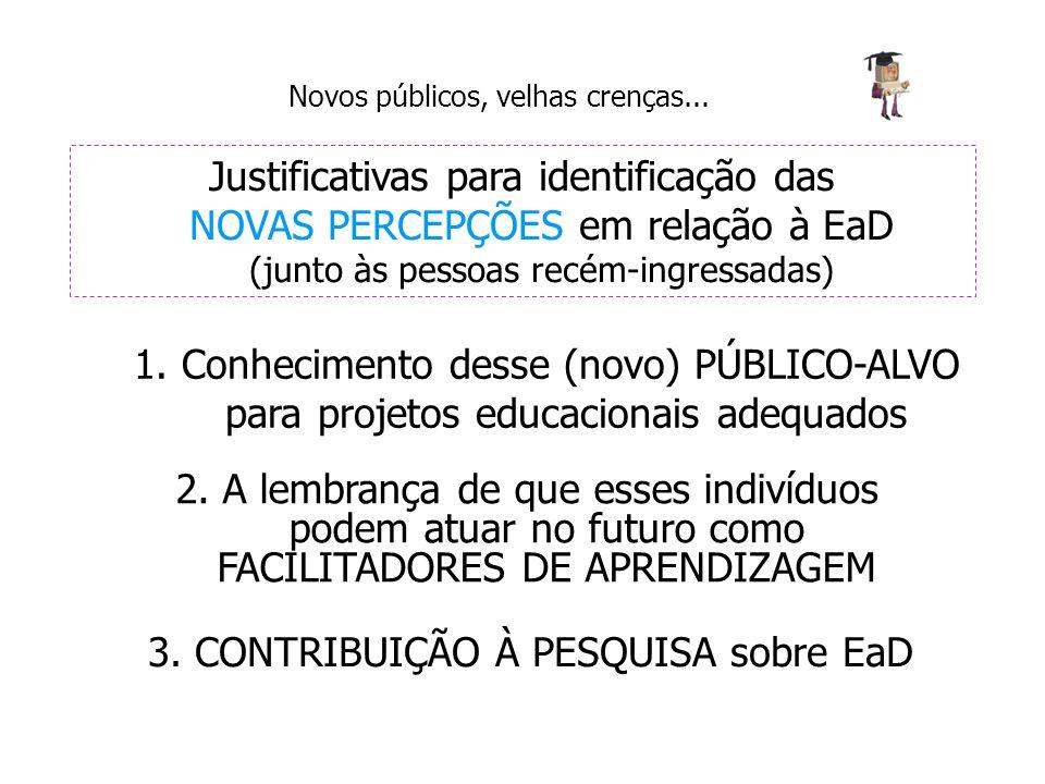 Novos públicos, velhas crenças... Justificativas para identificação das NOVAS PERCEPÇÕES em relação à EaD (junto às pessoas recém-ingressadas) 1. Conh