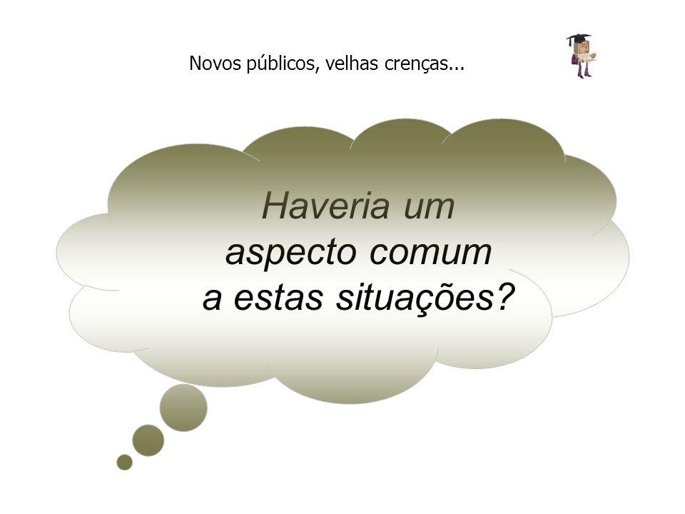 Sugerimos a existência de BARREIRAS CULTURAIS - em todos os níveis e áreas - geradas por CRENÇAS DEPRECIATIVAS em relação à EaD Novos públicos, velhas crenças...